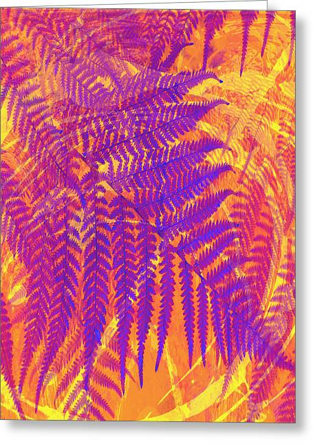 Manipulated Photography Greeting Cards - Purple Fern Greeting Card by Ann Powell
