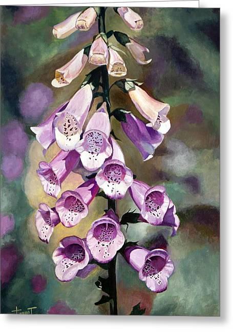 Foxglove Flowers Drawings Greeting Cards - Purple Fingers, 2010 Greeting Card by Cruz Jurado Traverso