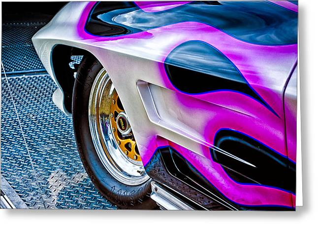 Dragway Greeting Cards - Purple Fire Greeting Card by Jeff Sinon