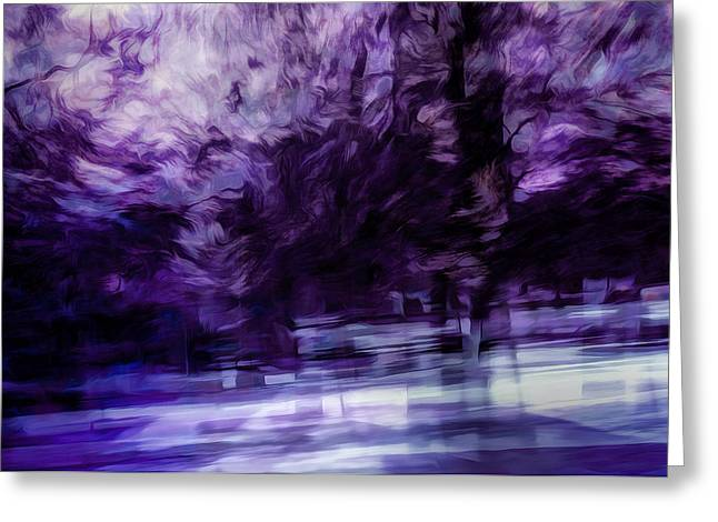 Purples Digital Art Greeting Cards - Purple Fire Greeting Card by Scott Norris