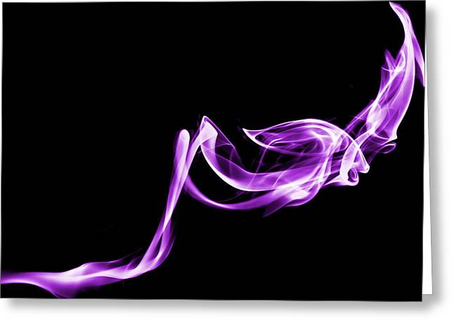 Smoke Trail Greeting Cards - Purple Flash Greeting Card by Christine Smart