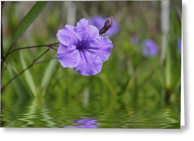 Purples Digital Art Greeting Cards - Purple Flower Greeting Card by Aged Pixel