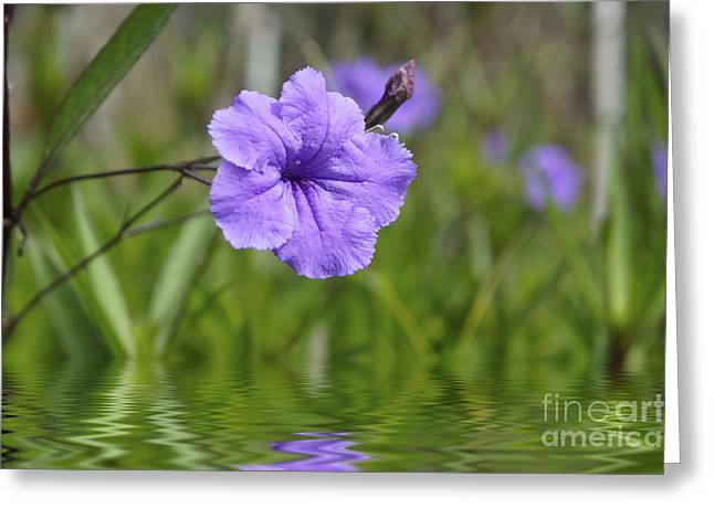 Tropical Leaves Greeting Cards - Purple Flower Greeting Card by Aged Pixel