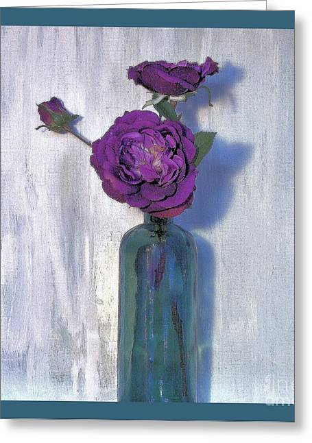 Flower Still Life Prints Greeting Cards - Purple Flower in a Seaglass Bottle Greeting Card by Marsha Heiken