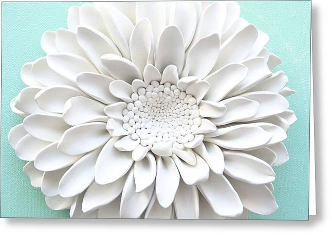 White Ceramics Greeting Cards - Purple Flower Wall Sculpture Greeting Card by Lenka Kasprisin