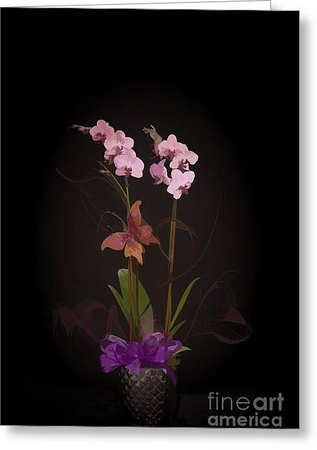 Flower Still Life Prints Greeting Cards - Purple flowers Butterfly Painting in Color Purple 3179.02 Greeting Card by M K  Miller