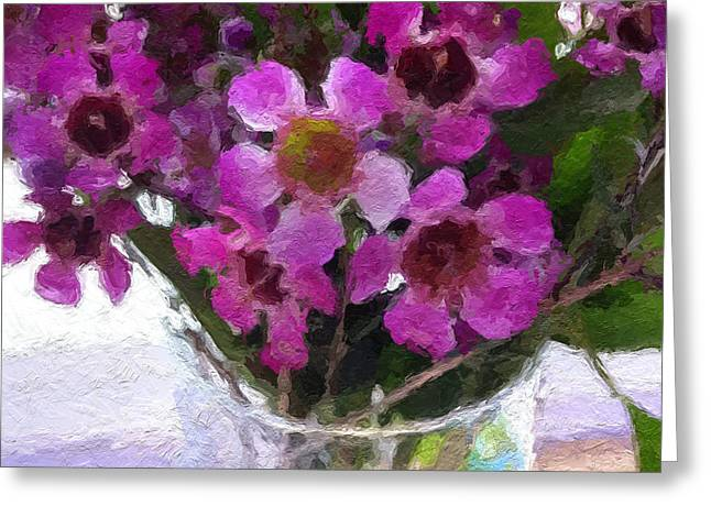 Flower Still Life Mixed Media Greeting Cards - Purple Flowers Greeting Card by Linda Woods