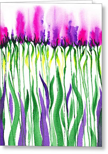 Beautiful Purples Greeting Cards - Purple Flowers Watercolor Decorative Design Fantasy II Greeting Card by Irina Sztukowski