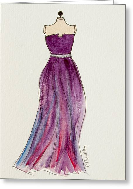 Ball Gown Paintings Greeting Cards - Purple Flowing Gown Greeting Card by Cindy Nowotny