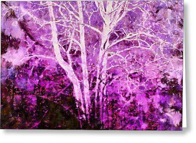 Purple Forest Fantasy Greeting Card by Janine Riley