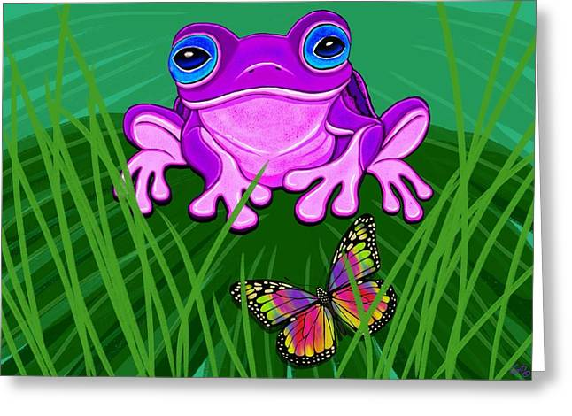 Amphibians Digital Art Greeting Cards - Purple Frog and Rainbow Butterfly Greeting Card by Nick Gustafson