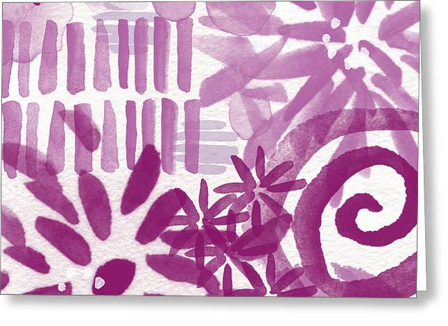 Purple Mixed Media Greeting Cards - Purple Garden - Contemporary Abstract Watercolor Painting Greeting Card by Linda Woods