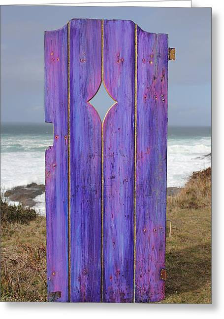 Painted Garden Gate Greeting Cards - Purple Gateway to the Sea  Greeting Card by Asha Carolyn Young