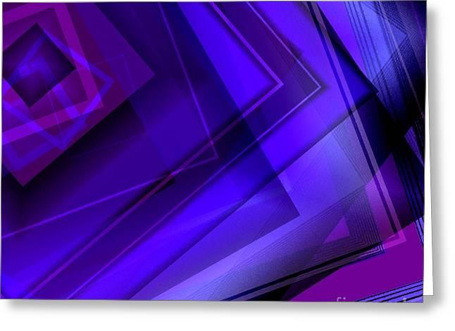 Transparency Geometric Greeting Cards - Purple Geometric Transparency Greeting Card by Mario  Perez