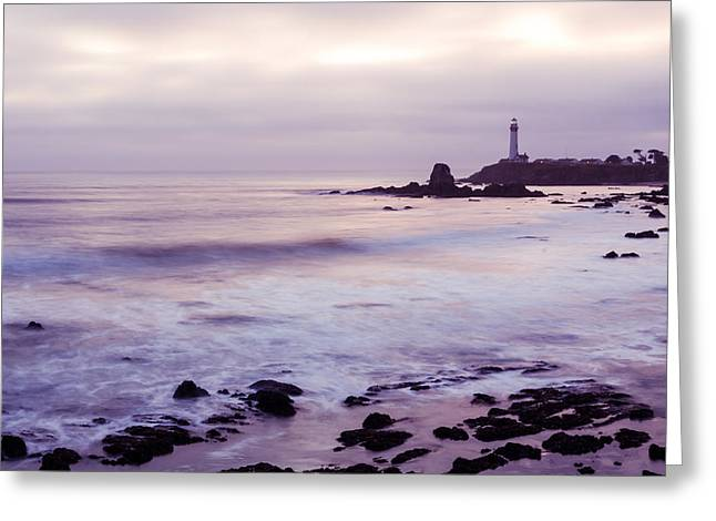 Pigeon Point Light Station Greeting Cards - Purple Glow At Pigeon Point Lighthouse Greeting Card by Priya Ghose