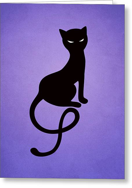 Purple Gracious Evil Black Cat Greeting Card by Boriana Giormova