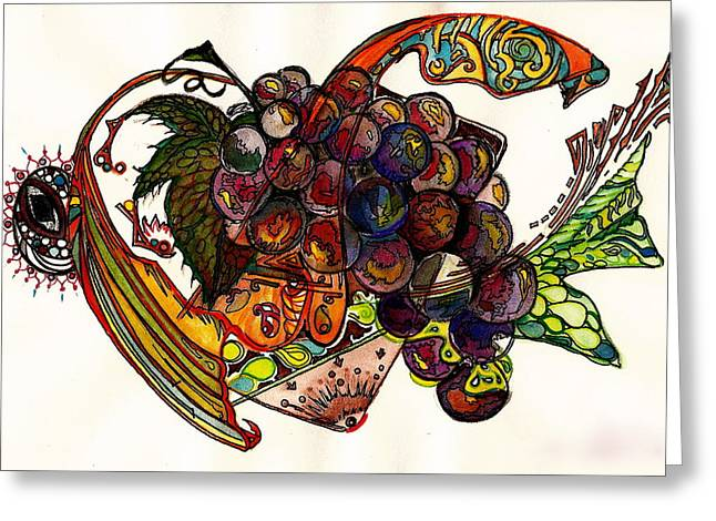 Purple Grapes Greeting Card by M E Wood