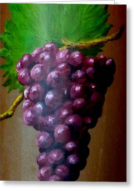 Straps Paintings Greeting Cards - Purple grapes on terra cotta Greeting Card by Gino Didio