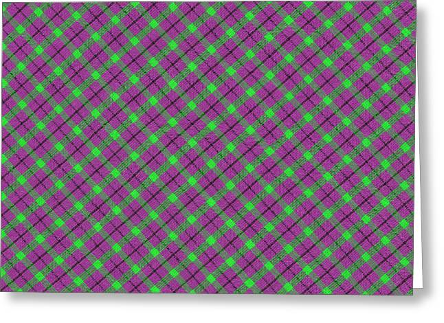 Gingham Greeting Cards - Purple Green and Black Diagonal Plaid Fabric Background Greeting Card by Keith Webber Jr
