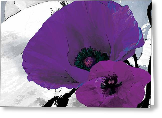 Purple Garden Greeting Cards - Purple Grey Poppy A Greeting Card by Grace Pullen