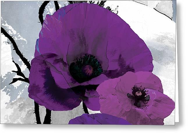 Purple Garden Greeting Cards - Purple Grey Poppy B Greeting Card by Grace Pullen