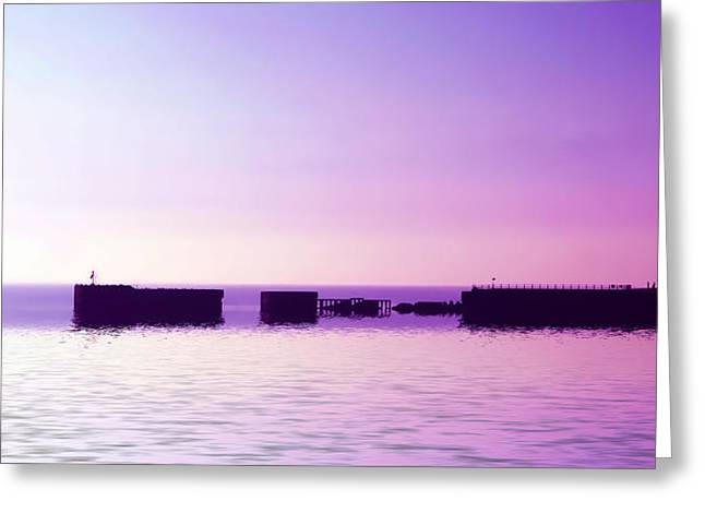Port Town Digital Art Greeting Cards - Purple harbor Greeting Card by Sharon Lisa Clarke
