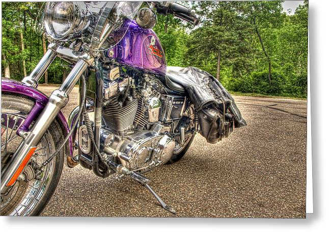 Thomas Young Photography Greeting Cards - Purple Harley Greeting Card by Thomas Young
