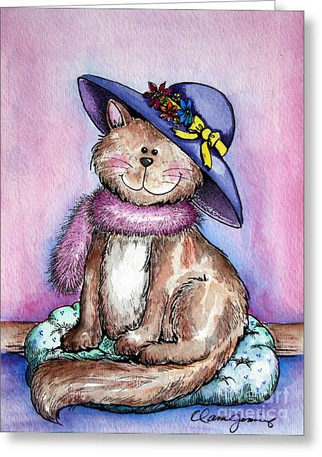 Pictures Of Cats Paintings Greeting Cards - Purple Hat Cat Greeting Card by Danise Abbott