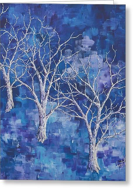 Haze Paintings Greeting Cards - Purple Haze Greeting Card by Christi Barrett