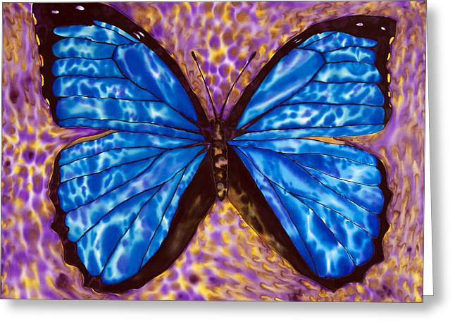 Original Art Tapestries - Textiles Greeting Cards - Blue  Morpho Butterfly Greeting Card by Daniel Jean-Baptiste