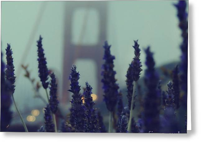 San Francisco Golden Gate Bridge Greeting Cards - Purple Haze Daze Greeting Card by Jennifer Ramirez