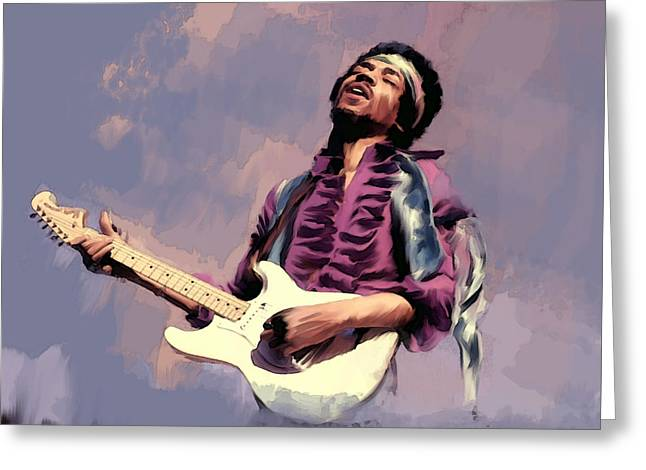 Main Street Greeting Cards - Purple Haze  Jimi Hendrix Greeting Card by Iconic Images Art Gallery David Pucciarelli