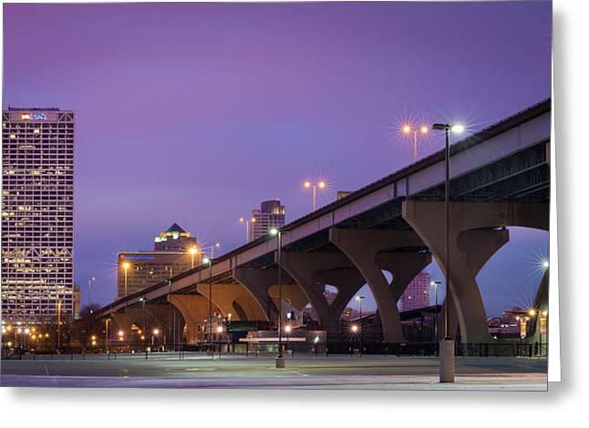 Milwaukee Skyline Greeting Cards - Purple Haze Greeting Card by Josh Eral
