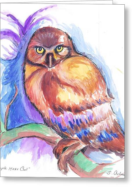 Psychedelic Owl Greeting Cards - Purple Haze Owl Greeting Card by Suzanne Ackerman