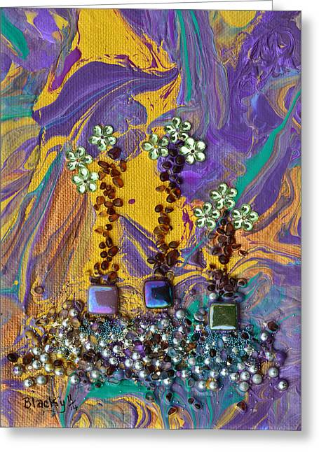 Haze Mixed Media Greeting Cards - Purple Haze Pot Garden Greeting Card by Donna Blackhall