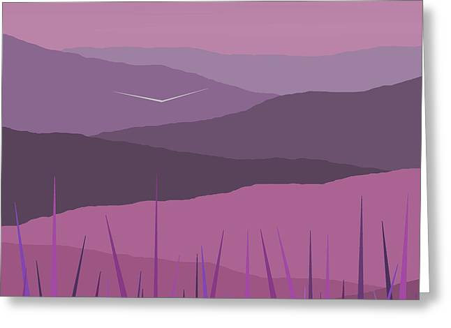 Minimalist Landscape Greeting Cards - Purple Haze - Purple Hills Greeting Card by Val Arie