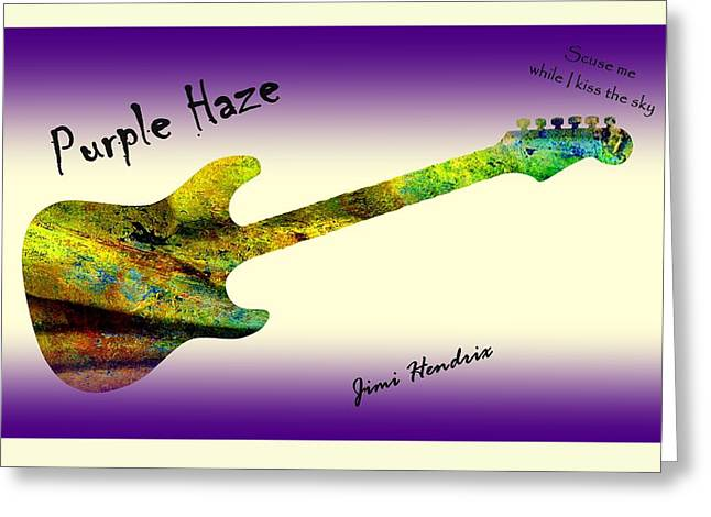 Johnny Allen Hendrix Greeting Cards - Purple Haze Scuse Me While I Kiss the Sky Hendrix Greeting Card by David Dehner