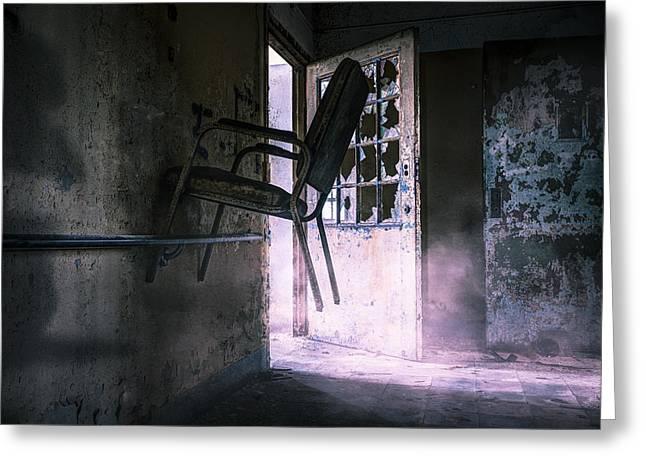 Purple Haze - Strange Scene In An Abandoned Psychiatric Facility Greeting Card by Gary Heller