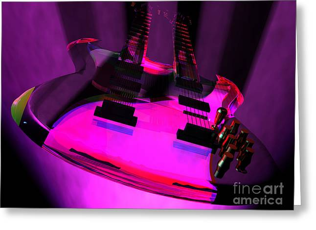 Knob Mixed Media Greeting Cards - Purple Haze Twin Neck Guitar Greeting Card by R Muirhead Art