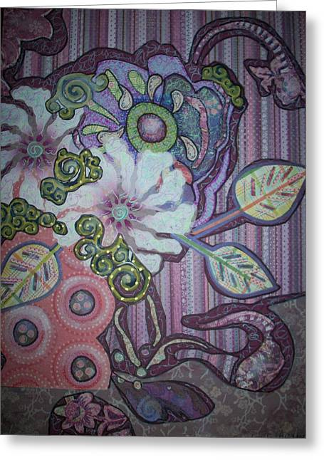 Intricate Cuts Greeting Cards - Purple Hazey Still Life Greeting Card by Sandra fw Beaty