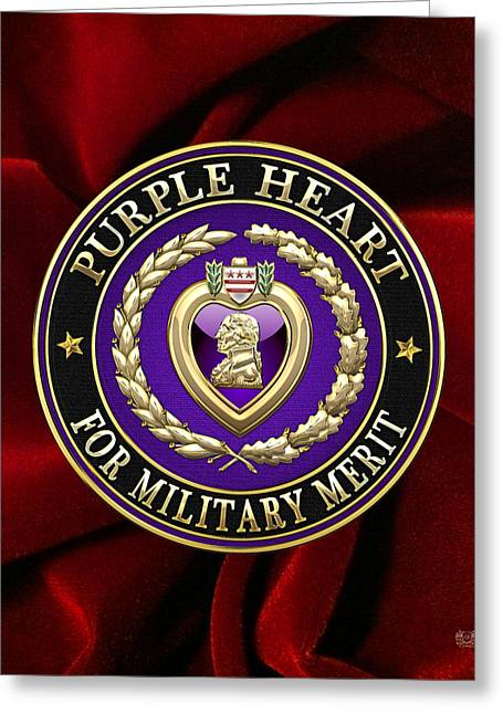 Award Digital Greeting Cards - Purple Heart on Red Velvet Greeting Card by Serge Averbukh