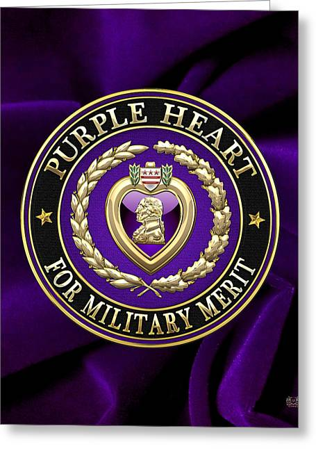 Award Digital Greeting Cards - Purple Heart on Velvet Greeting Card by Serge Averbukh