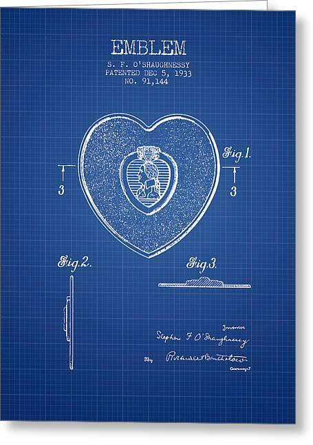 Purples Digital Art Greeting Cards - Purple Heart Patent from 1933 - Blueprint Greeting Card by Aged Pixel