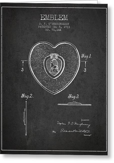 Purples Digital Art Greeting Cards - Purple Heart Patent from 1933 - Charcoal Greeting Card by Aged Pixel