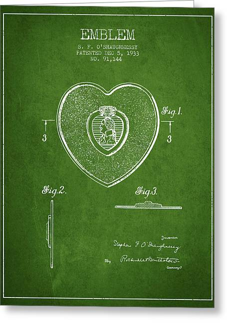 Purples Digital Art Greeting Cards - Purple Heart Patent from 1933 - Green Greeting Card by Aged Pixel