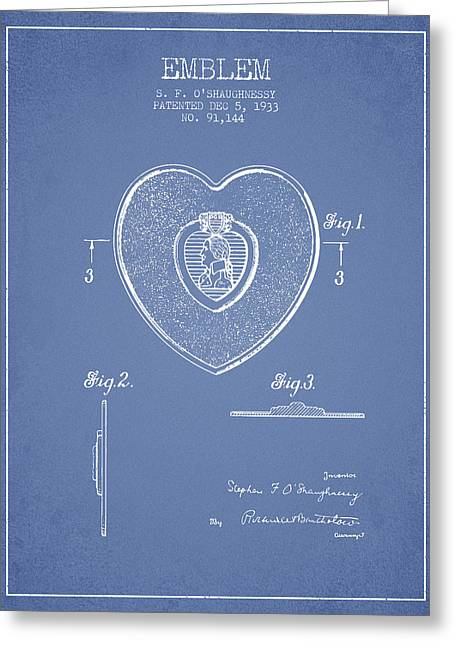 Purples Digital Art Greeting Cards - Purple Heart Patent from 1933 - Light Blue Greeting Card by Aged Pixel