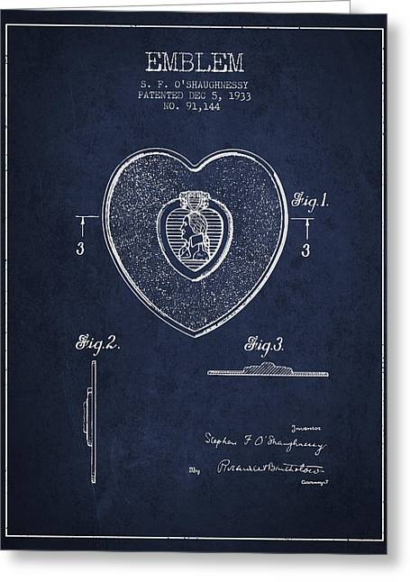 Purples Digital Art Greeting Cards - Purple Heart Patent from 1933 - Navy Blue Greeting Card by Aged Pixel