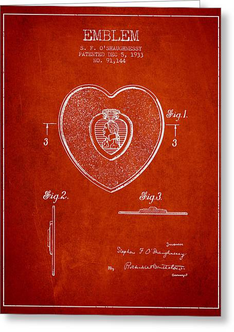 Purples Digital Art Greeting Cards - Purple Heart Patent from 1933 - Red Greeting Card by Aged Pixel