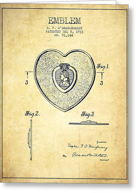 Purples Digital Art Greeting Cards - Purple Heart Patent from 1933 - Vintage Greeting Card by Aged Pixel