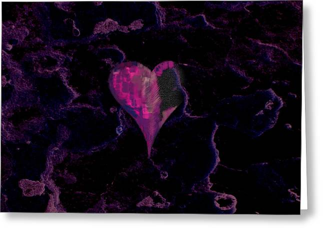 Lovely Digital Art Greeting Cards - Purple Heart Greeting Card by Stylianos Kleanthous